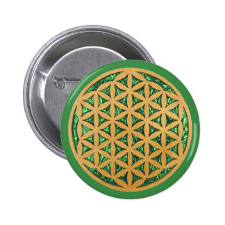 Wood Carving of Flower of Life 6 Cm Round Badge