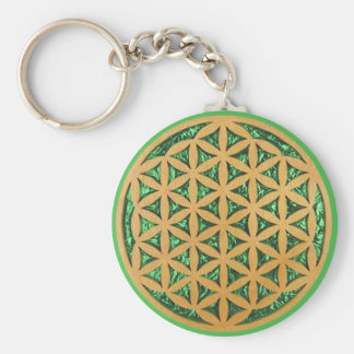 Wood Carving of Flower of Life Basic Round Button Key Ring