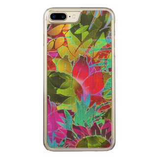 Wood Case iPhone 7 Plus Floral Abstract Artwork