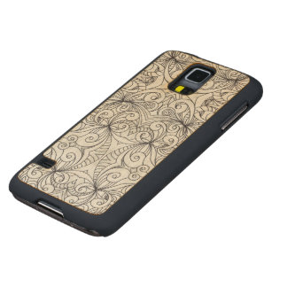 Wood Case Samsung G S5 Floral Doodle Drawing