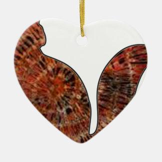 wood cat batik art ceramic heart decoration