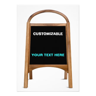 Wood & Chalkboard Standing Sign Customize Personalized Announcements