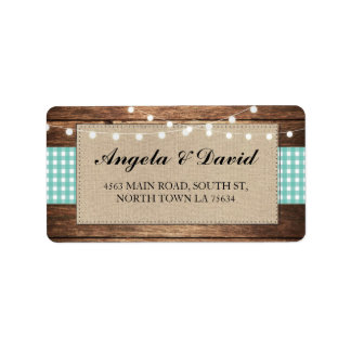 Wood Check Burlap Rustic Wedding Address Labels