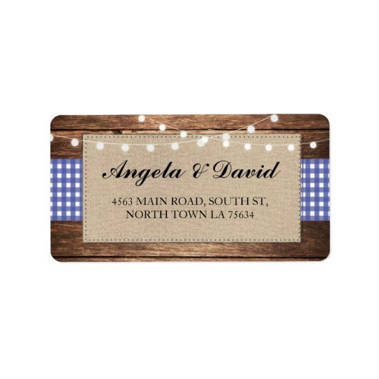 Wood Check Burlap Rustic Wedding Address Labels
