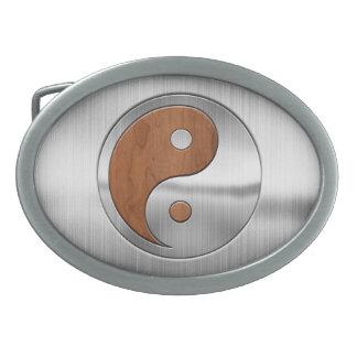Wood Chrome Yang Belt Buckle