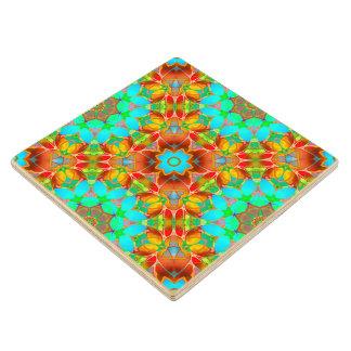 Wood Coaster Floral Fractal Art G410