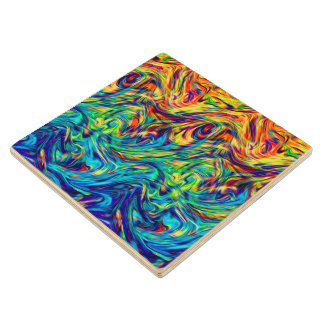 Wood Coaster Fluid Colors