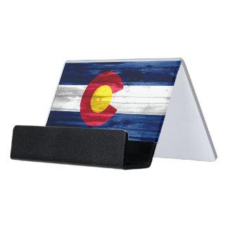Wood Colorado flag business card holder Desk Business Card Holder