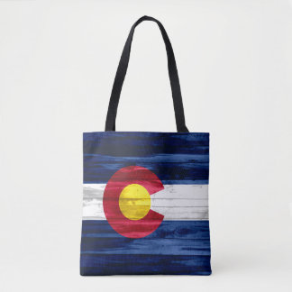 Wood Colorado flag print all over tote bag
