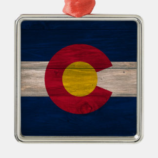 Wood Colorado flag square holiday ornament