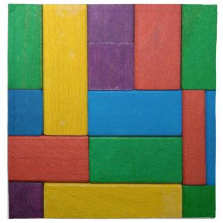 Wood,colorful,building blocks,kids,fun,happy,retro cloth napkin