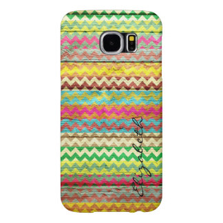 Wood Colorful Chevron Stripes Monogram Samsung Galaxy S6 Cases