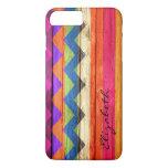 Wood Coloured Chevron Stripes Vintage iPhone 7 Plus Case
