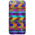 Wood Colourful Chevron Stripes Monogram #11 Barely There iPhone 6 Plus Case