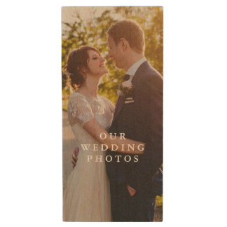 Wood Couples Photo Flash Drive