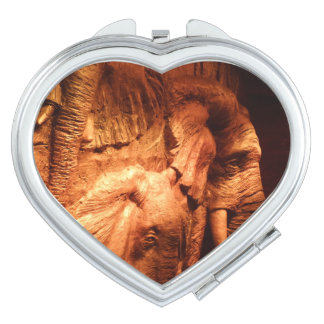 Wood Crafted Elephants Heart Compact Mirror