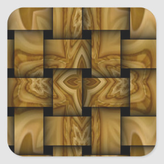 Wood cross weave pattern square sticker