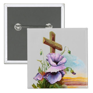 Wood Cross With Purple Flowers 15 Cm Square Badge
