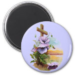 Wood Cross With Purple Flowers 6 Cm Round Magnet