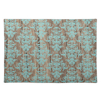 Wood damask pattern vintage rustic chic chandelier placemat