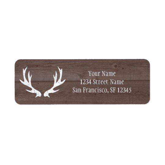Wood deer antler wedding Return Address labels