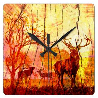 wood deer clocks
