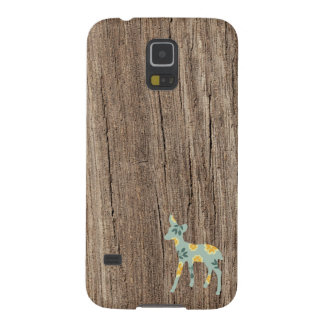 Wood deer fawn rustic folk art fair isle pattern case for galaxy s5