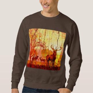 wood deer pull over sweatshirt