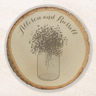 Wood Disc Inspired Baby's Breath Wedding Coaster