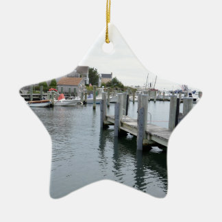 Wood dock in Stonington Connecticut Christmas Ornament