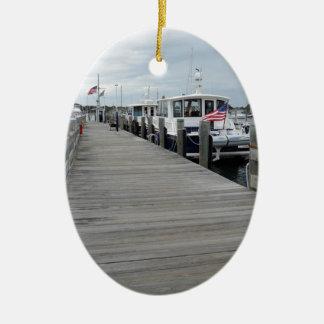 Wood dock in Stonington Connecticut Christmas Ornament