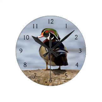 Wood Duck male on log in wetland Round Clock