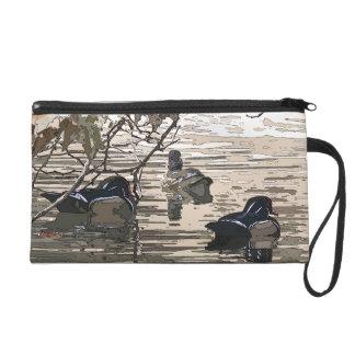 Wood Ducks Birds Art Wildlife Animals Bag Wristlet Clutch