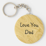 Wood Effect Abstract Basic Round Button Key Ring