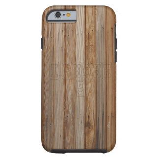 Wood effect iPhone 6 case with Text Tough iPhone 6 Case