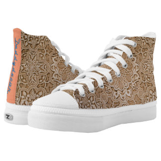 Wood engrave high top shoe printed shoes