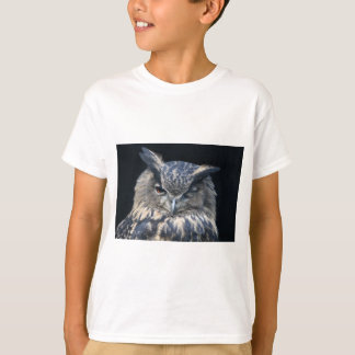 Wood eye is watchful - blinking eagle owl t-shirt
