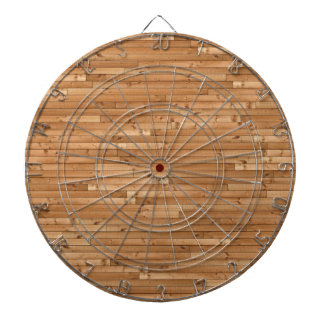 Wood floor pattern dartboard with darts