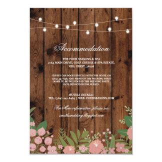 Wood Floral Rustic Accommodation Wedding Cards