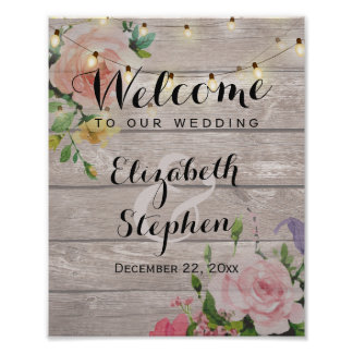 Wood Floral String Lights Wedding Reception Sign Poster