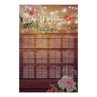 Wood Floral String Lights Wedding Seating Chart