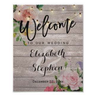 Wood Floral String Lights Welcome Wedding Sign
