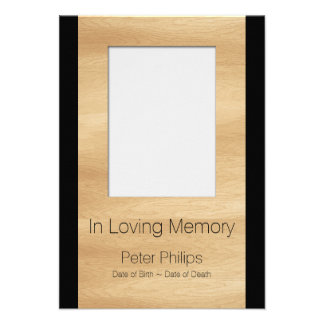 Wood Frame Template Funeral Announcement Add image
