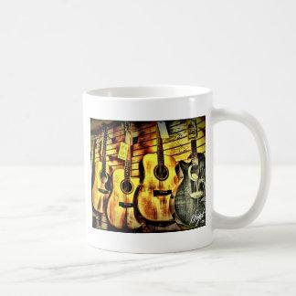 Wood Grain Acoustic Guitars Basic White Mug