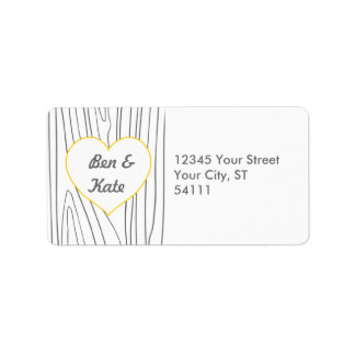 Wood Grain Address Labels - Yellow and Grey