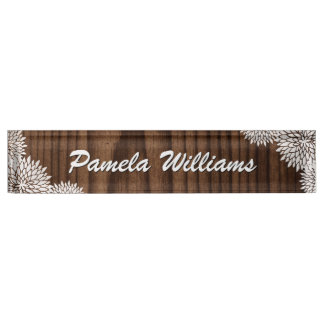 Wood Grain and Flowers Custom Desk Nameplate