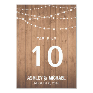 Wood Grain and string lights table numbers 13 Cm X 18 Cm Invitation Card