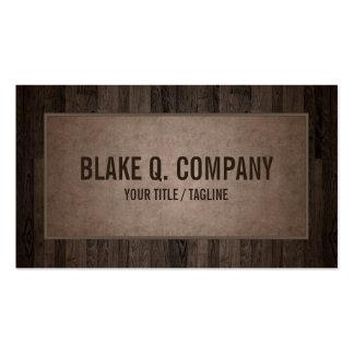 Wood Grain and Suede Look Brown Business Card
