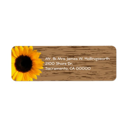 Wood Grain and Sunflower Custom Return Address