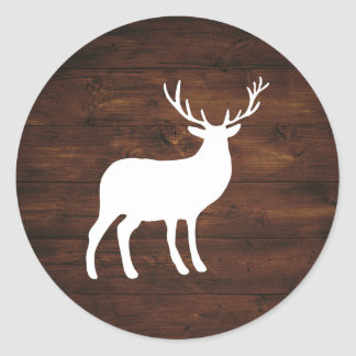 Wood Grain and White Stag | Holiday Classic Round Sticker